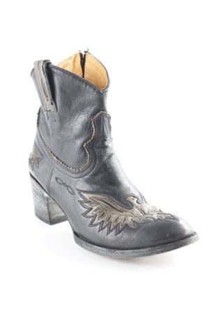 Boots western noir-gris vert motif graphique style campagnard