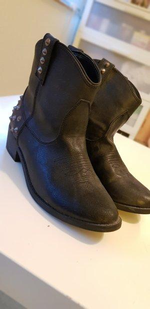 JustFab Western Booties black-silver-colored
