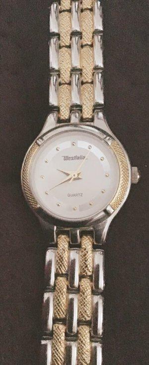 Horloge met metalen riempje goud-zilver