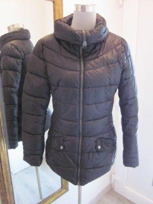 Wetterfeste Jacke Tailliert Schwarz Gr S Hoher Kragen