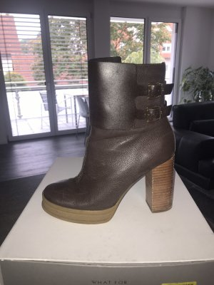 What for Platform Booties dark brown leather