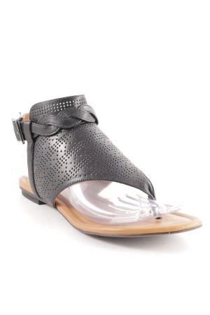 What for Sandalo toe-post nero-cognac Motivo Azteco Stile Boho