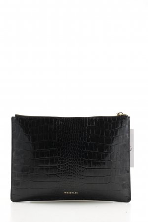 Whistles Clutch schwarz Animalmuster Business-Look