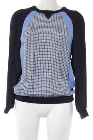 Whistles Langarm-Bluse dunkelblau-himmelblau Motivdruck Retro-Look