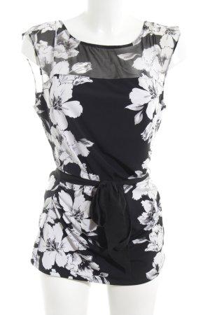 White House Black Market ärmellose Bluse schwarz-weiß abstraktes Muster