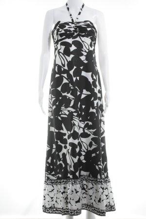 White House Black Market Bandeaukleid schwarz-weiß florales Muster Casual-Look