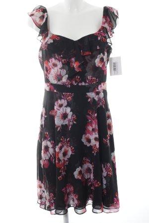White House Black Market Chiffonkleid schwarz-pink Blumenmuster Casual-Look