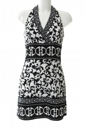 White House Black Market Vestido de cuello Halter negro-blanco look casual