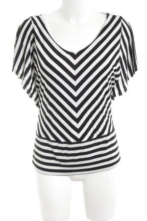 White House Black Market Boatneck Shirt black-white striped pattern casual look