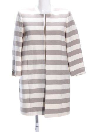 White Label Blazer largo blanco puro-gris claro estampado a rayas look casual
