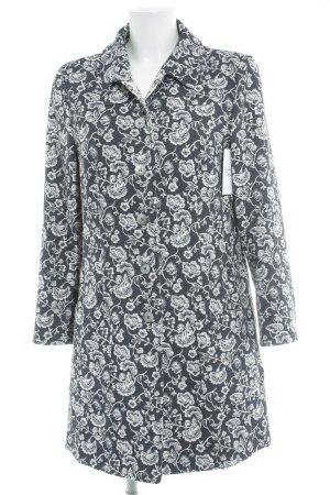 White Label Übergangsmantel dunkelblau-wollweiß florales Muster Elegant
