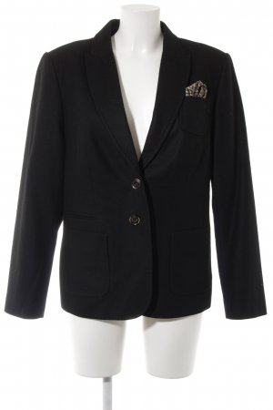 White Label Woll-Blazer schwarz Webmuster Business-Look