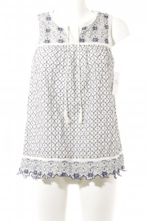 White Stuff Mouwloze blouse wit-donkerblauw abstract patroon romantische stijl