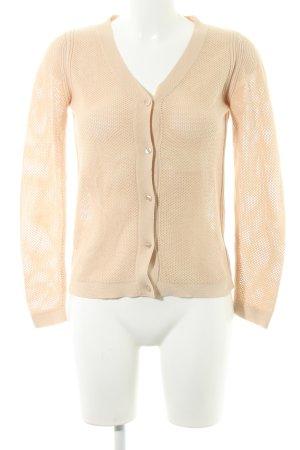 White T Shirtjacke beige Lochstrickmuster Elegant
