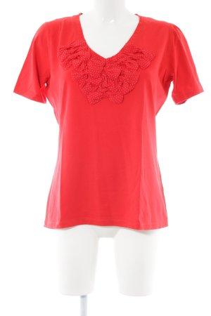 White T V-Ausschnitt-Shirt rot Casual-Look