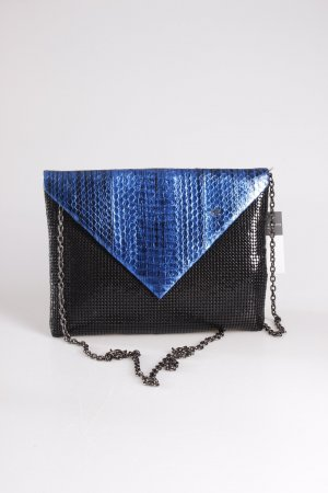 Whiting & Davis Umhängetasche Snake Envelope Brass Bag schwarz-blau