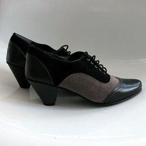 Chaussure à talons carrés noir-gris faux cuir