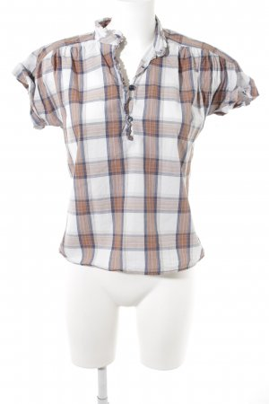 WHYRED Kurzarm-Bluse himmelblau-apricot Glencheckmuster Casual-Look