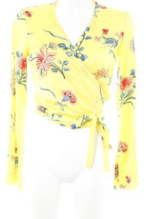 Wickel-Bluse gelb Blumenmuster Beach-Look