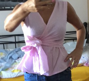 Wickel Bluse in rosa/weiß grM, Neu
