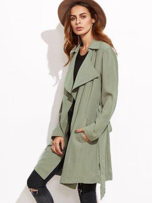 Wickel-Mantel mit drapiertem Kragen-grün