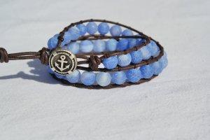 Armband korenblauw-staalblauw Leer