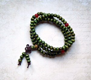 Wickelarmband Gebetskette Sandelholz grün Unisex