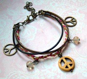 Wickelarmband Leder Peace Hippie Quarz bronzefarben