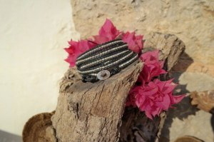 Wickelarmband Leder schwarz Silber nuggets