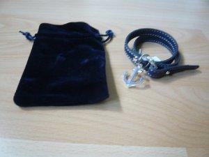 Wickelarmband, Marke: Aniston, Anhänger, Echtleder, blau, neu, ohne Etikett