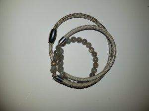 Wickelarmband mit Labradorith und Nappalederband