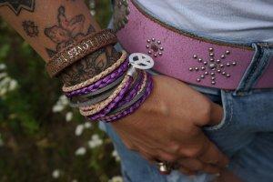 Wickelarmband purple Leder Perlmutt