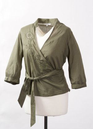 Sfera Wraparound Blouse green grey cotton