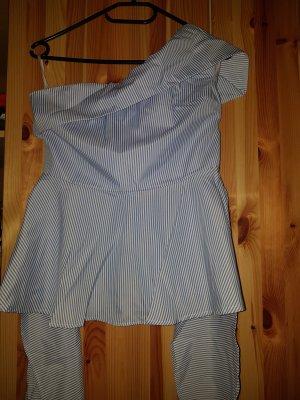 SheIn Camisa de un solo hombro blanco-azul celeste