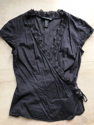 H&M Wraparound Blouse dark blue