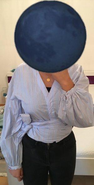 H&M Blusa cruzada naranja claro-azul aciano