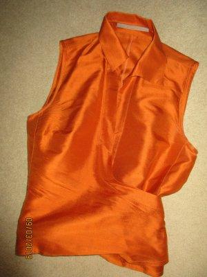 Zijden blouse neonoranje Zijde
