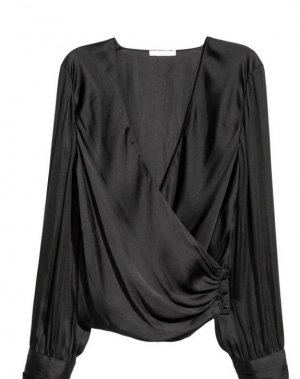 H&M Wraparound Blouse black