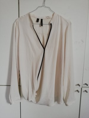 Mango Wraparound Blouse white-black