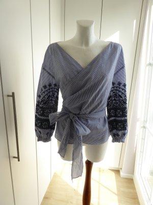 Zara Basic Camicetta aderente bianco-blu scuro Cotone