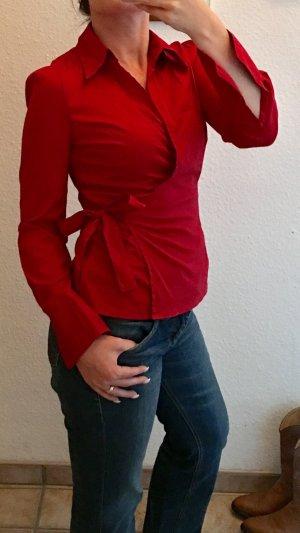 H&M Wraparound Blouse red-dark red