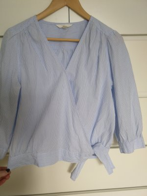 H&M Wraparound Blouse oatmeal-light blue