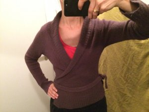 Zara Knitted Wrap Cardigan dark violet mixture fibre