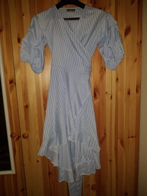 SheIn Vestido cruzado blanco-azul celeste