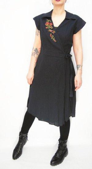 Robe portefeuille bleu foncé-noir coton