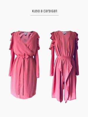 wickelkleid in pink rosa cut out Schulter mit Volants & Gürtel auch als Cardigan | lovefire | M