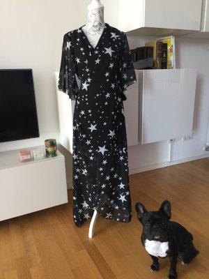 Wickelkleid Kleid Maxikleid schwarz weiß Sterne Stars NEU
