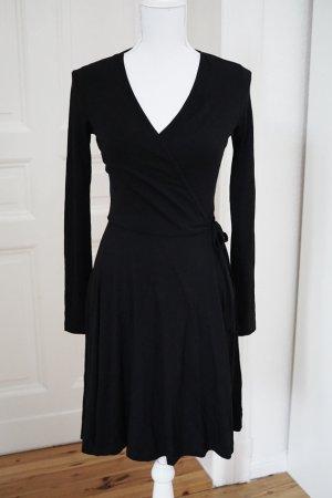 Wickelkleid Kleid schwarz Baumwolle Stretch vintage 32 XXS NEU