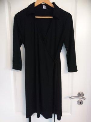 Wickelkleid - M&S Mode - schwarz - mit Kragen - Gr. 44