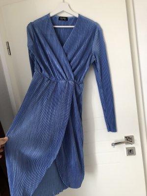 Wickelkleid Midi mit V-Ausschnitt langarm Hell Baby Blau